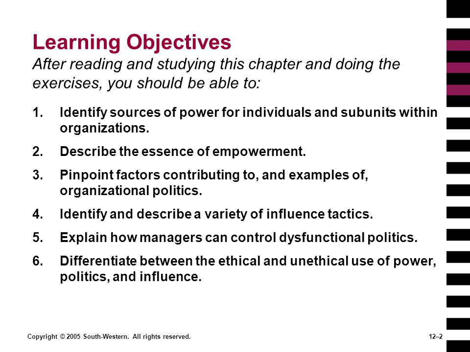 Learning Objectives After reading and studying this chapter and doing the exercises, you should be able to: