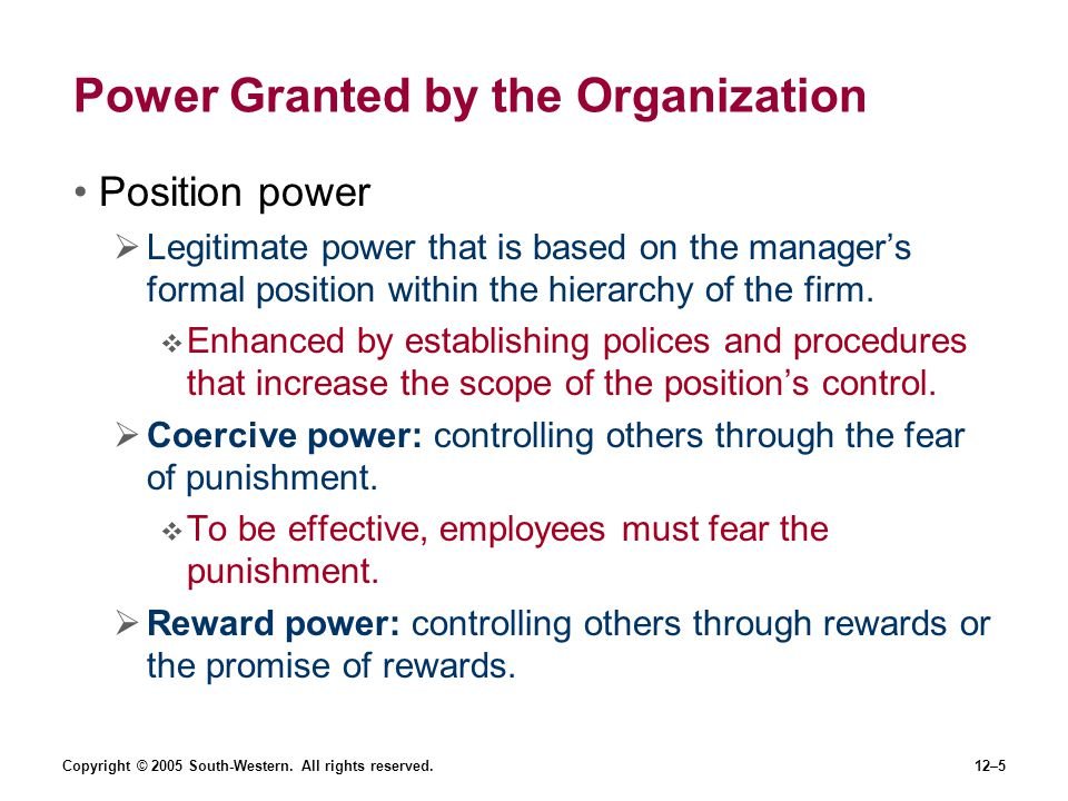Power Granted by the Organization