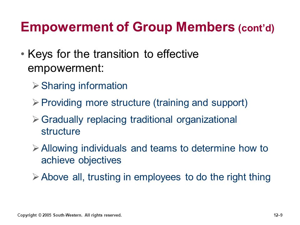 Empowerment of Group Members (cont'd)