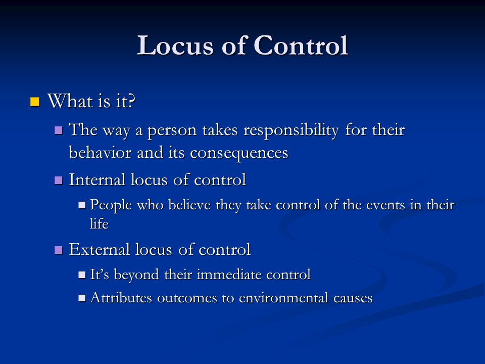 Locus of Control What is it