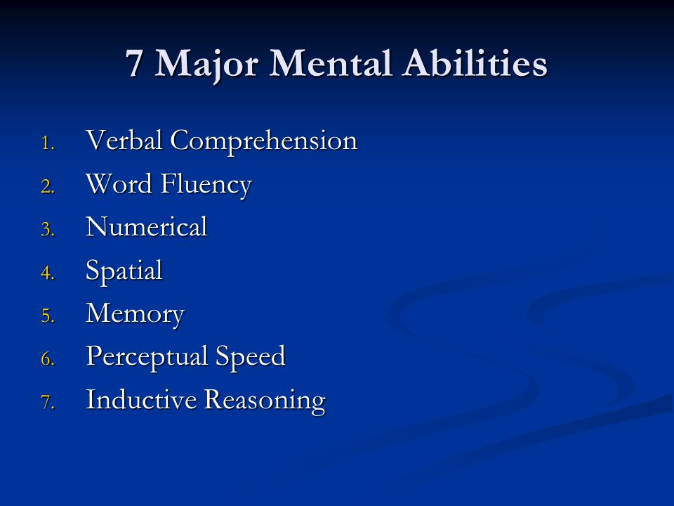 7 Major Mental Abilities