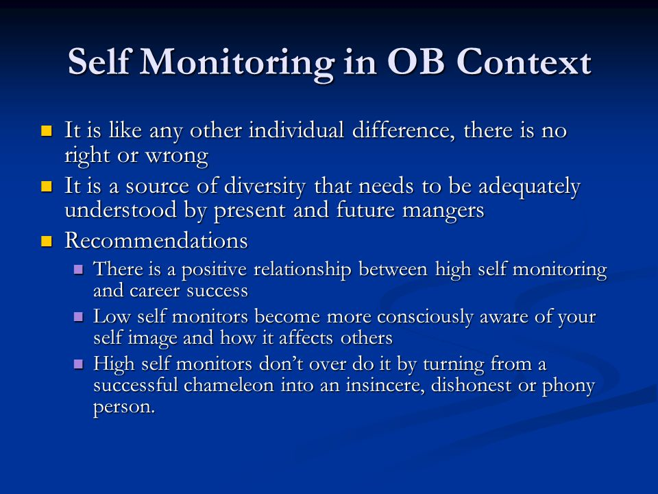 Self Monitoring in OB Context