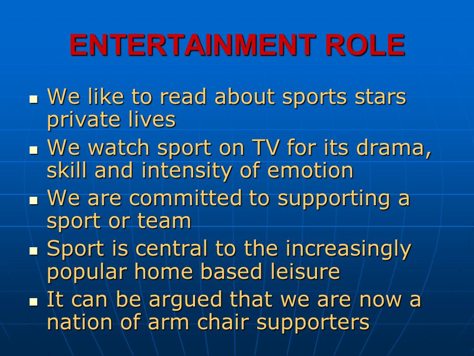 ENTERTAINMENT ROLE We like to read about sports stars private lives