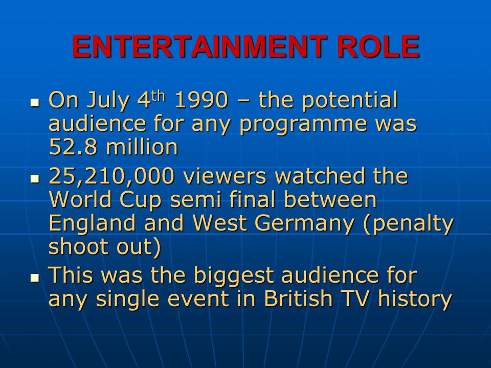ENTERTAINMENT ROLE On July 4th 1990 – the potential audience for any programme was 52.8 million.