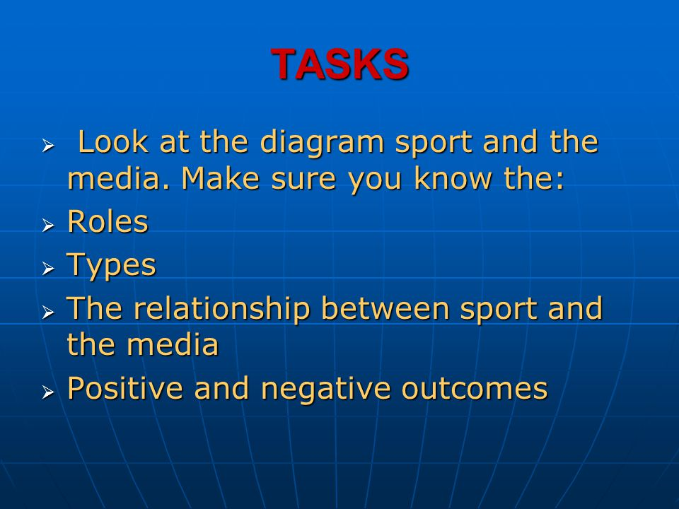 TASKS Look at the diagram sport and the media. Make sure you know the: