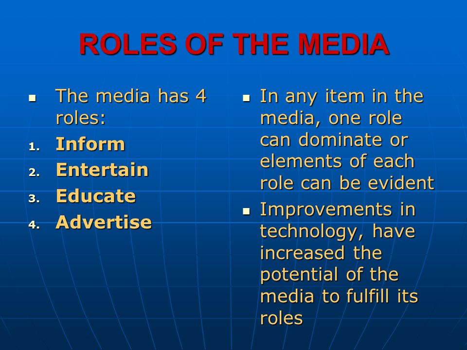 ROLES OF THE MEDIA The media has 4 roles: Inform Entertain Educate