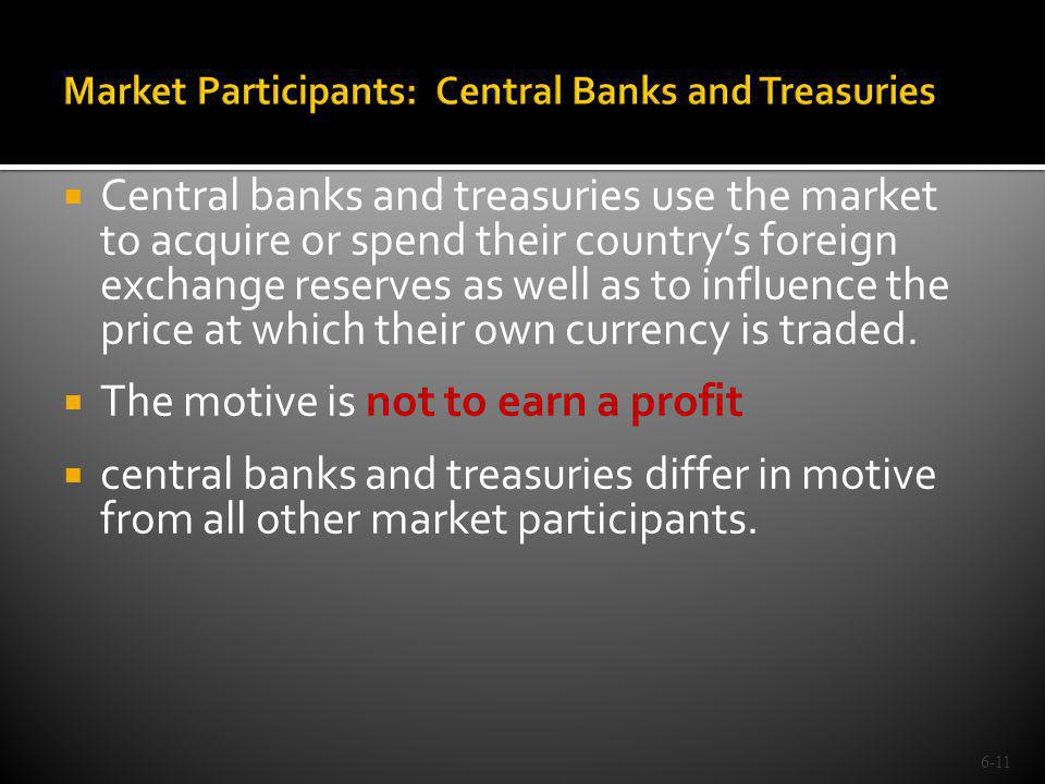 Market Participants: Central Banks and Treasuries