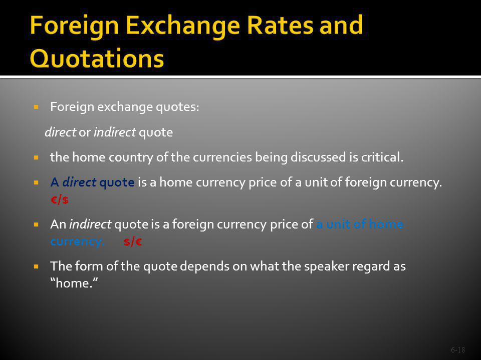Foreign Exchange Rates and Quotations