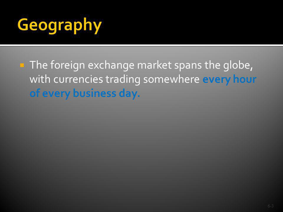 Geography The foreign exchange market spans the globe, with currencies trading somewhere every hour of every business day.