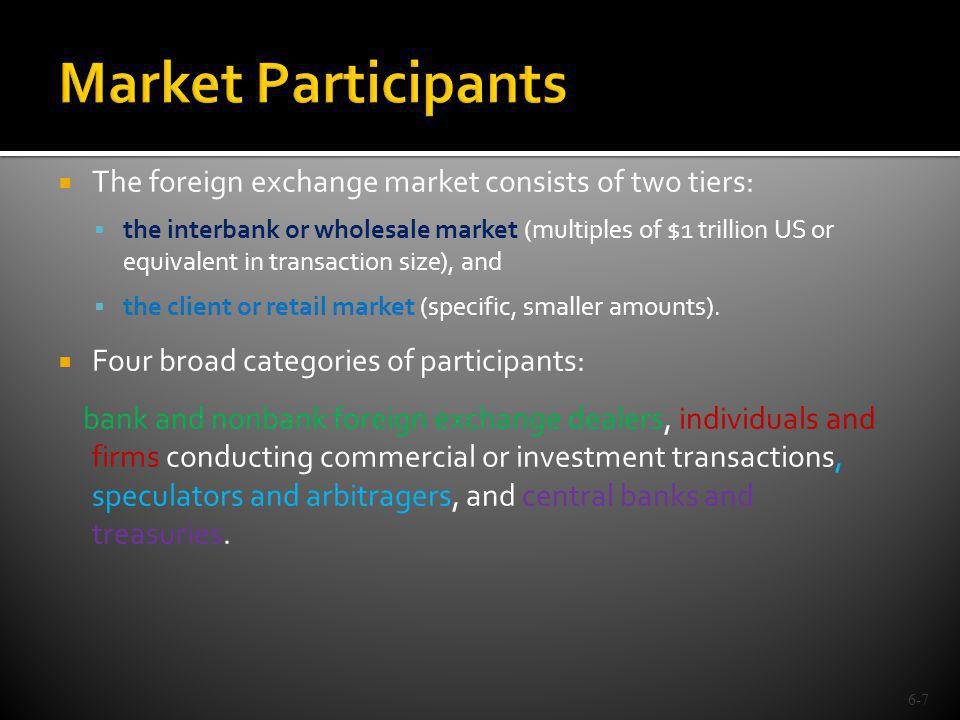 Market Participants The foreign exchange market consists of two tiers: