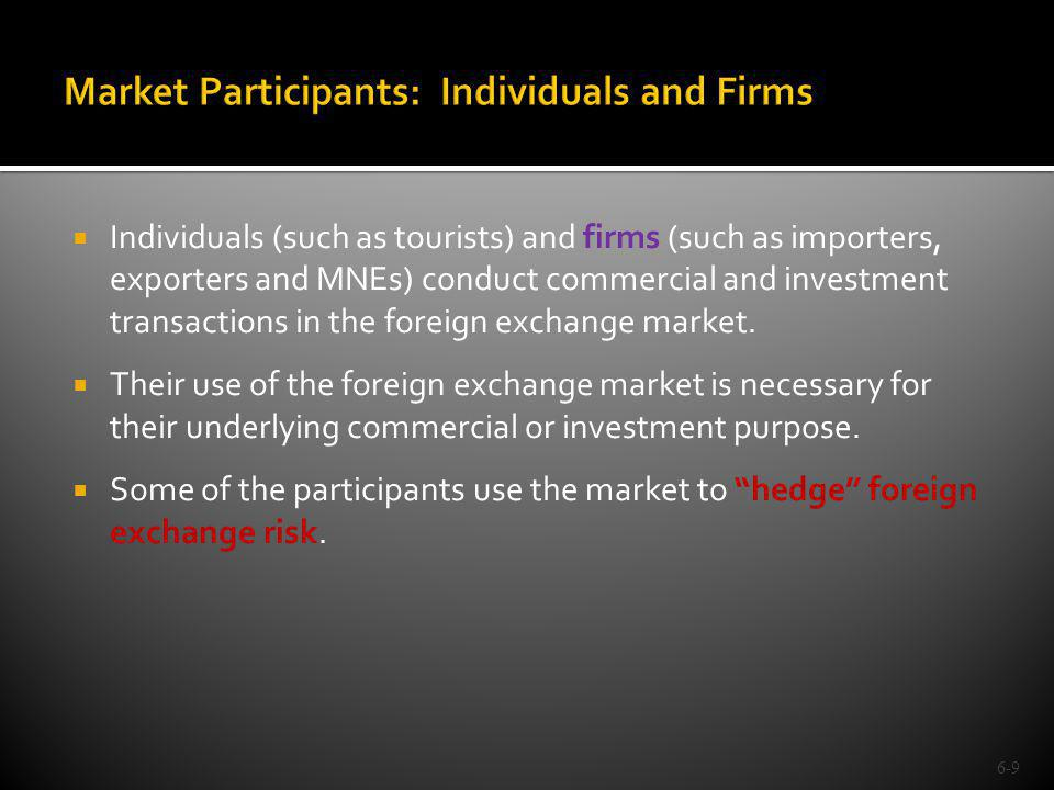Market Participants: Individuals and Firms