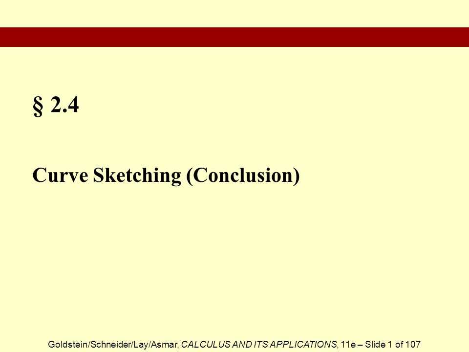 § 2.4 Curve Sketching (Conclusion)