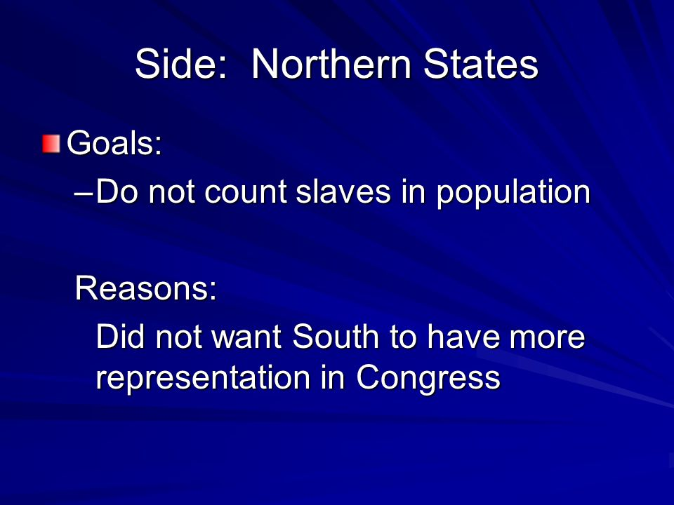 Side: Northern States Goals: Do not count slaves in population