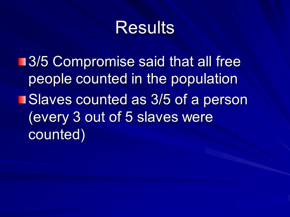 Results 3/5 Compromise said that all free people counted in the population.