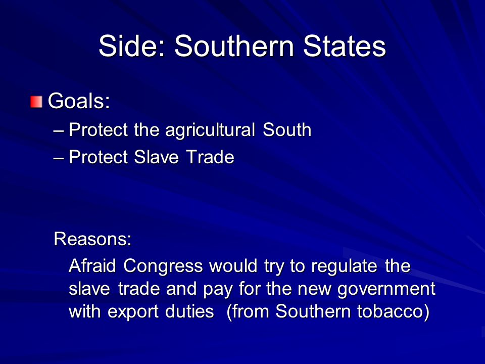 Side: Southern States Goals: Protect the agricultural South