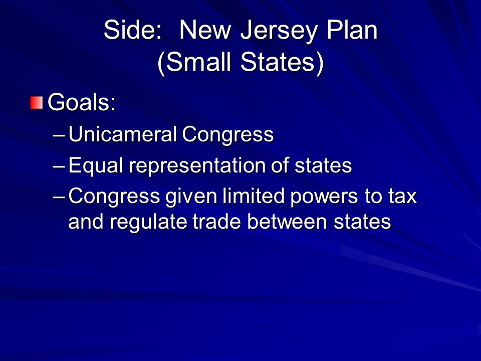 Side: New Jersey Plan (Small States)
