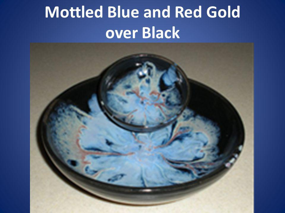 Mottled Blue and Red Gold over Black
