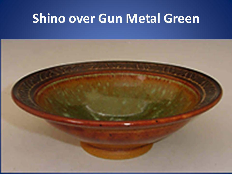 Shino over Gun Metal Green