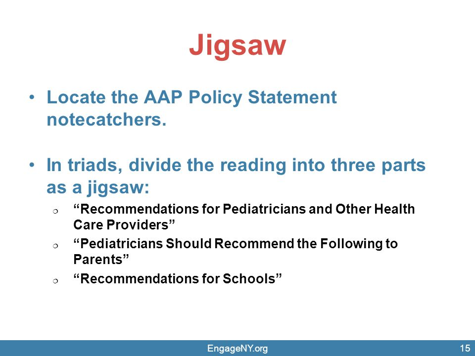 Jigsaw Locate the AAP Policy Statement notecatchers.