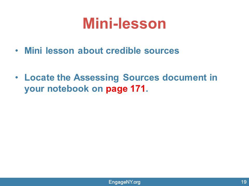 Mini-lesson Mini lesson about credible sources