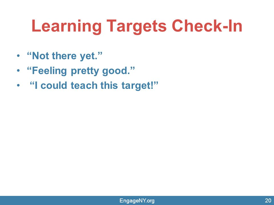 Learning Targets Check-In