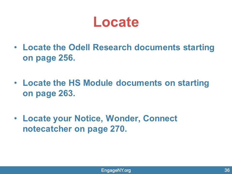 Locate Locate the Odell Research documents starting on page 256.