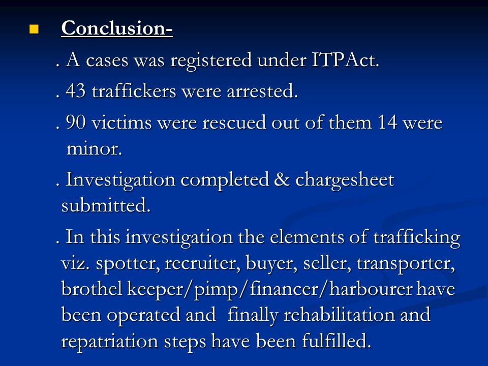 Conclusion- . A cases was registered under ITPAct. . 43 traffickers were arrested. . 90 victims were rescued out of them 14 were minor.