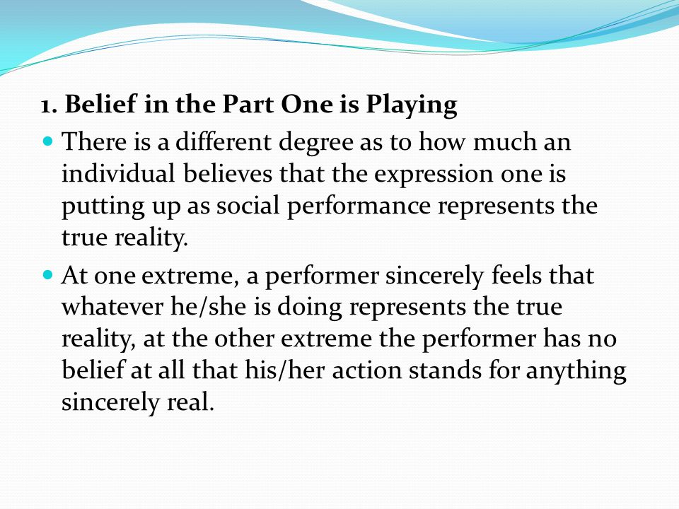 1. Belief in the Part One is Playing