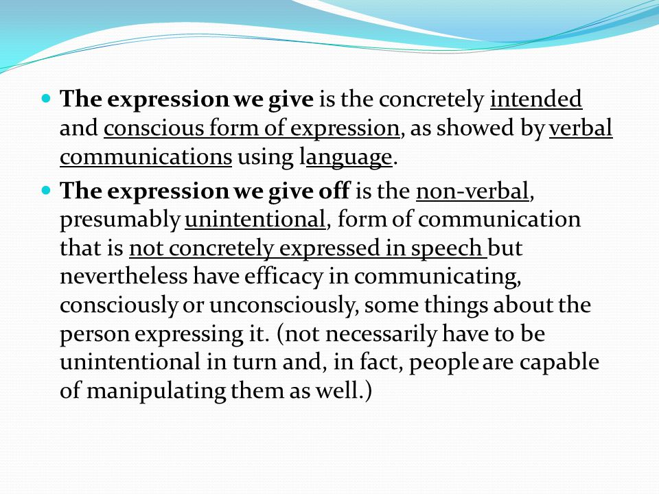 The expression we give is the concretely intended and conscious form of expression, as showed by verbal communications using language.