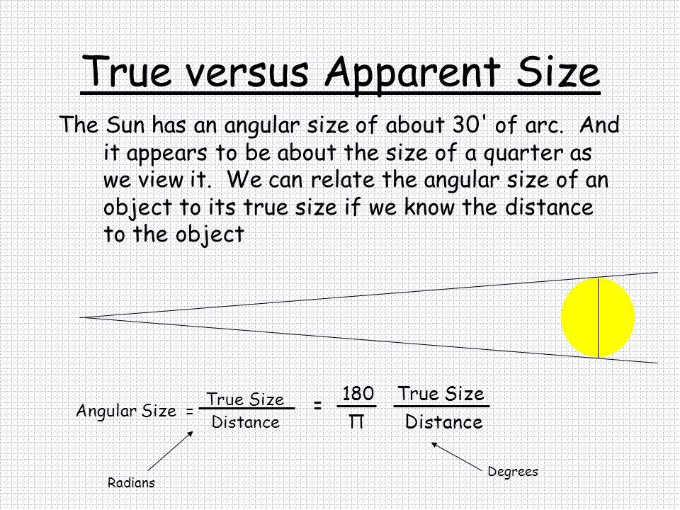 True versus Apparent Size
