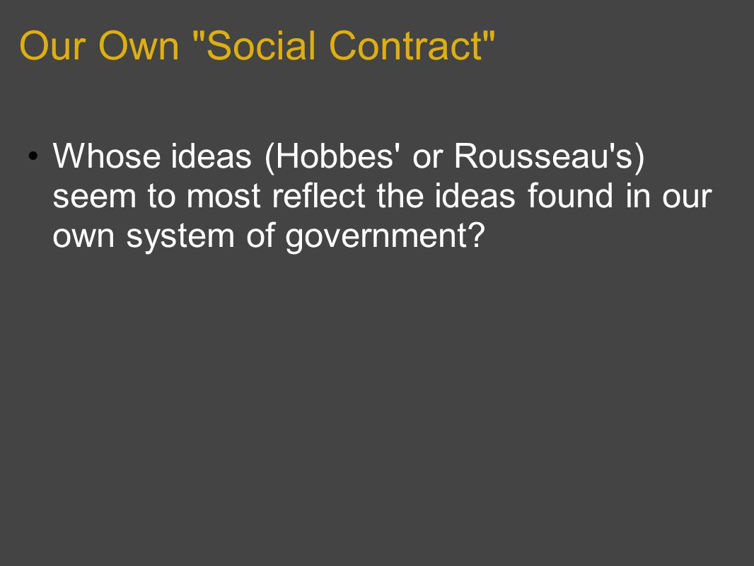 Our Own Social Contract