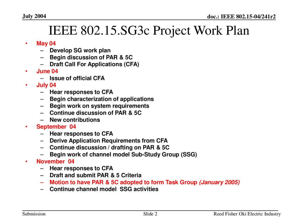 IEEE SG3c Project Work Plan