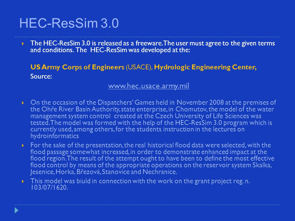 HEC-ResSim 3.0 www.hec.usace.army.mil