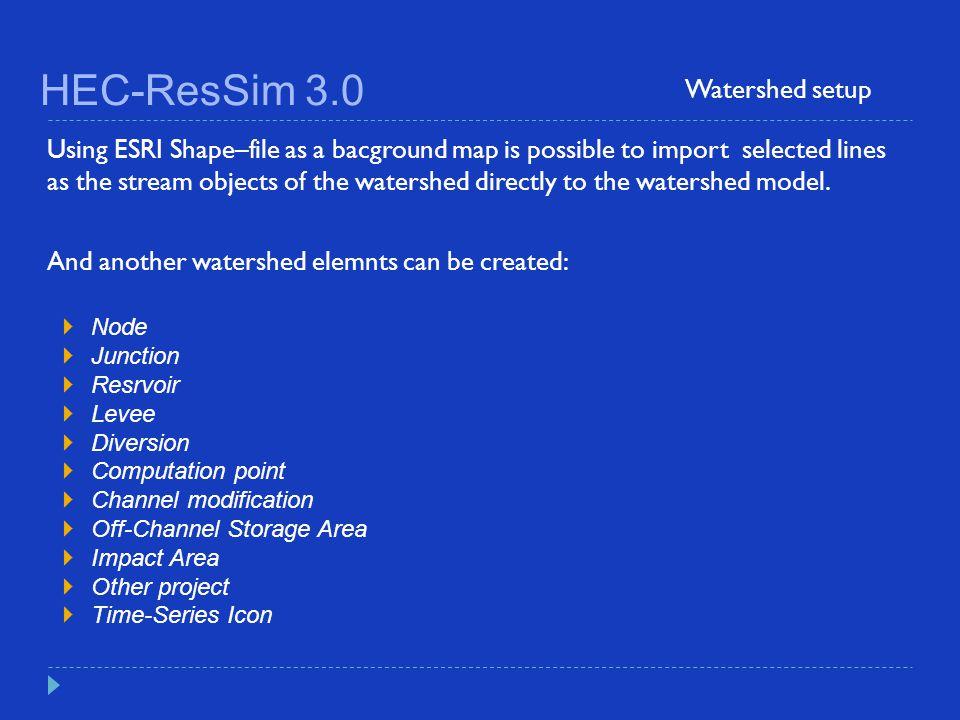 HEC-ResSim 3.0 Watershed setup