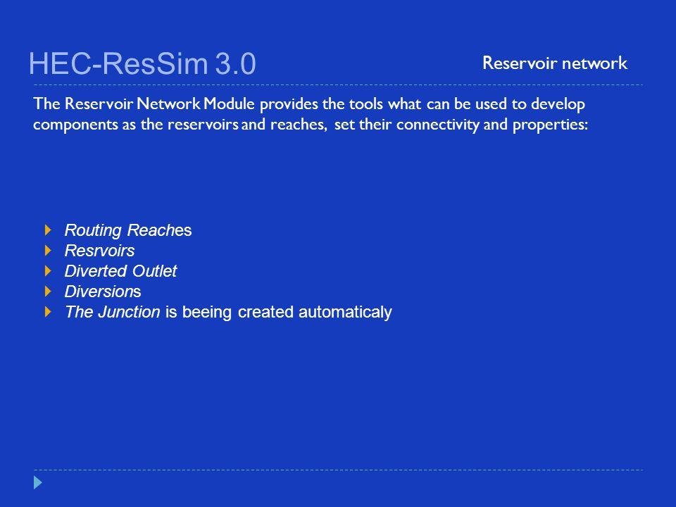 HEC-ResSim 3.0 Reservoir network