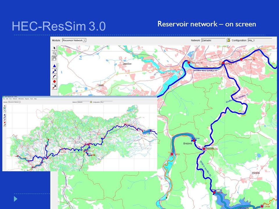 HEC-ResSim 3.0 Reservoir network – on screen