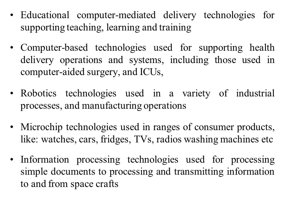 Educational computer-mediated delivery technologies for supporting teaching, learning and training