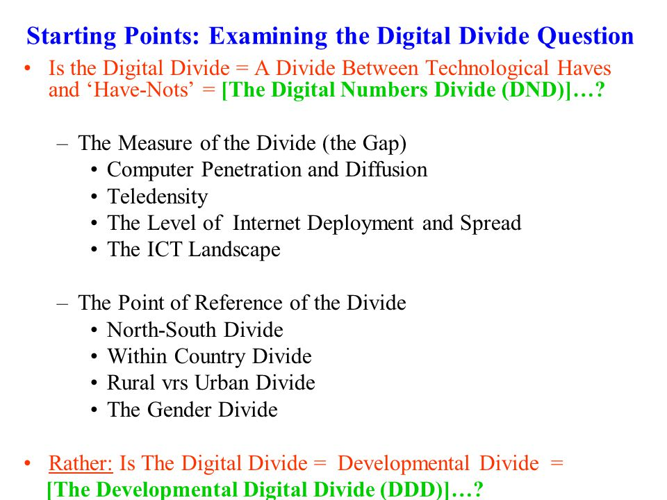 Starting Points: Examining the Digital Divide Question