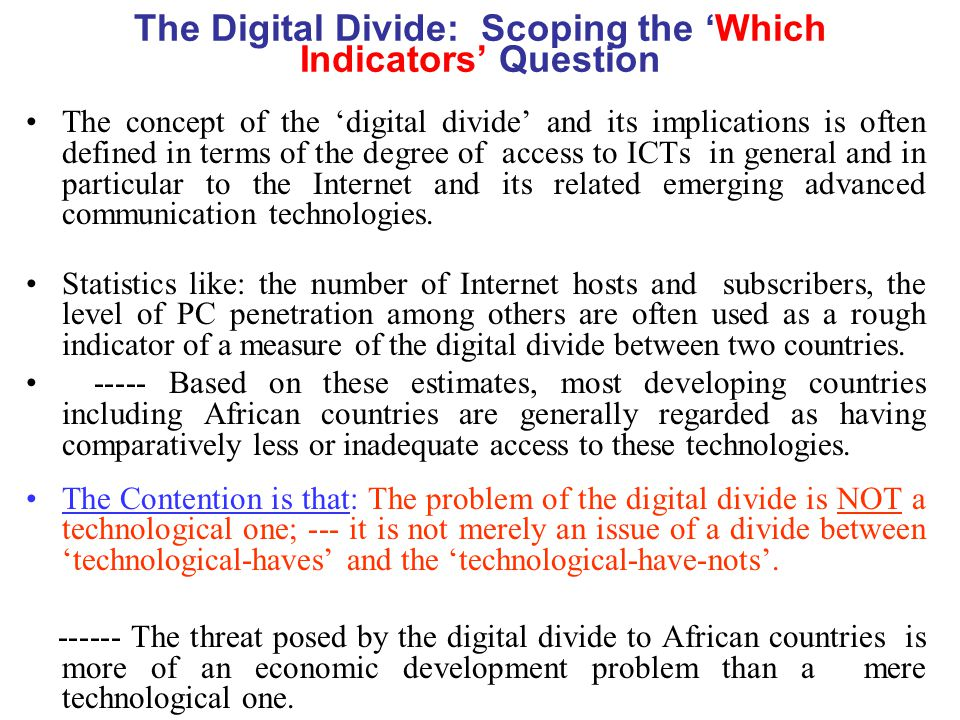 The Digital Divide: Scoping the 'Which Indicators' Question