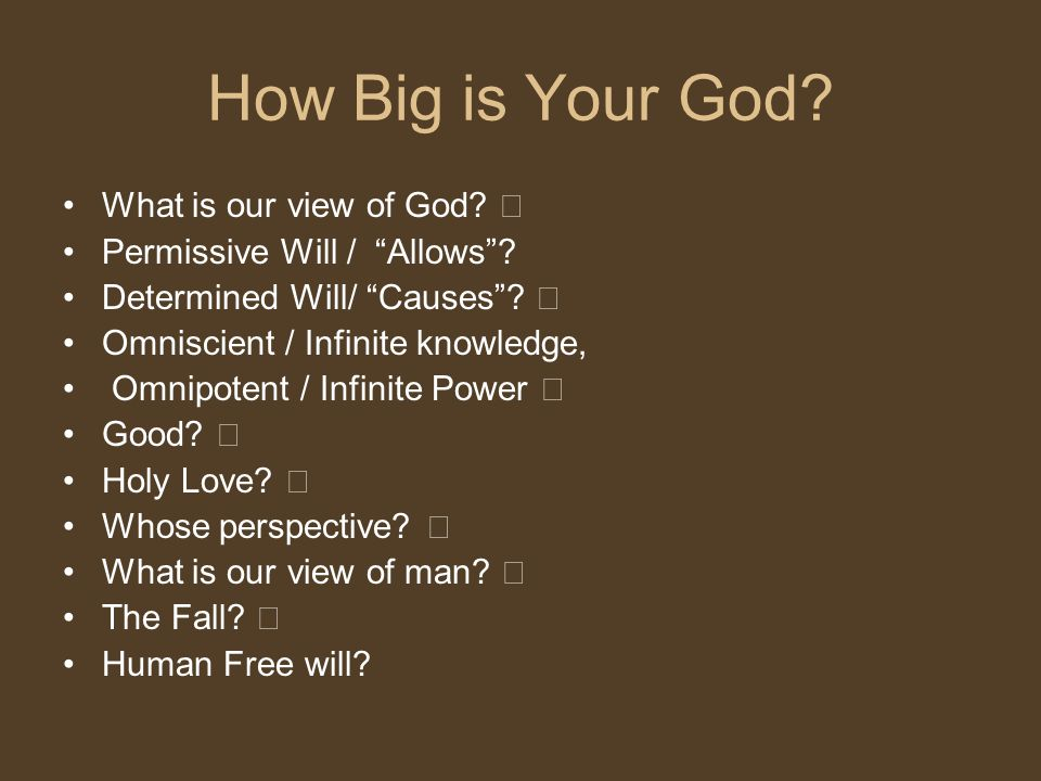How Big is Your God What is our view of God ""