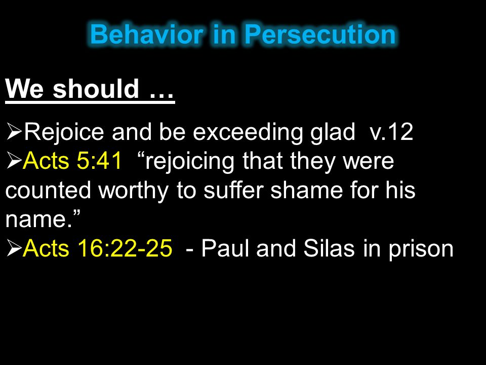 Behavior in Persecution