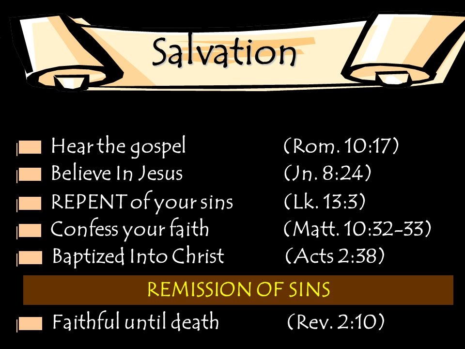 Salvation Hear the gospel (Rom. 10:17) Believe In Jesus (Jn. 8:24)