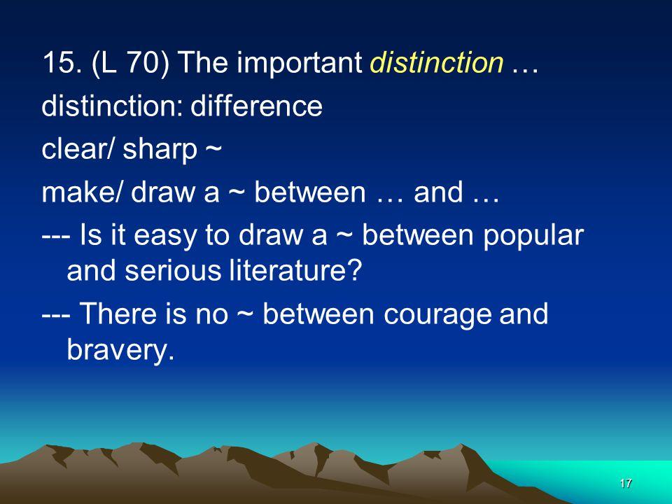 15. (L 70) The important distinction …