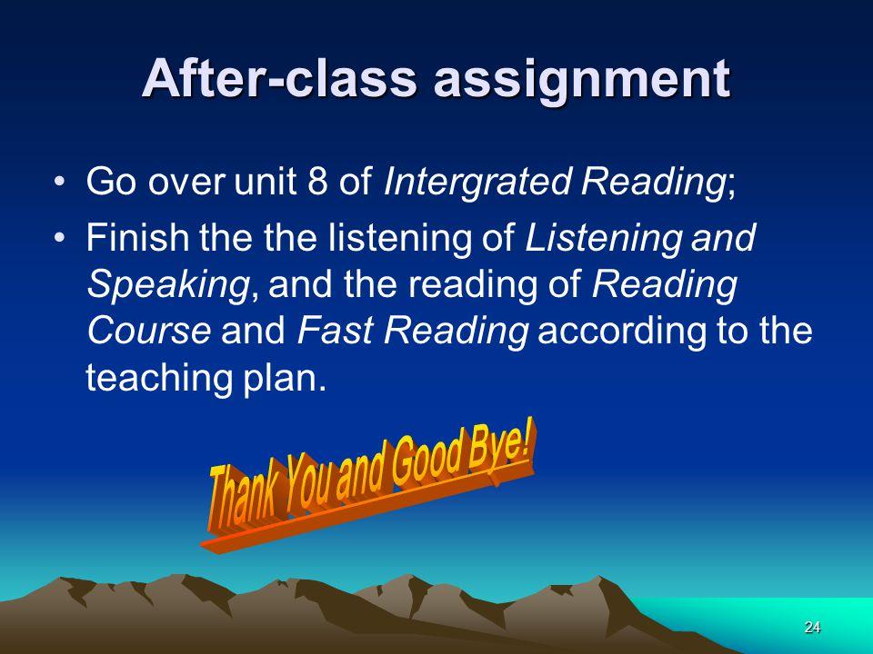 After-class assignment