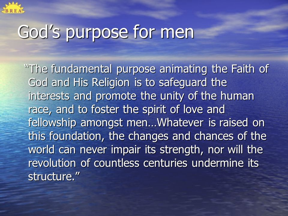 God's purpose for men