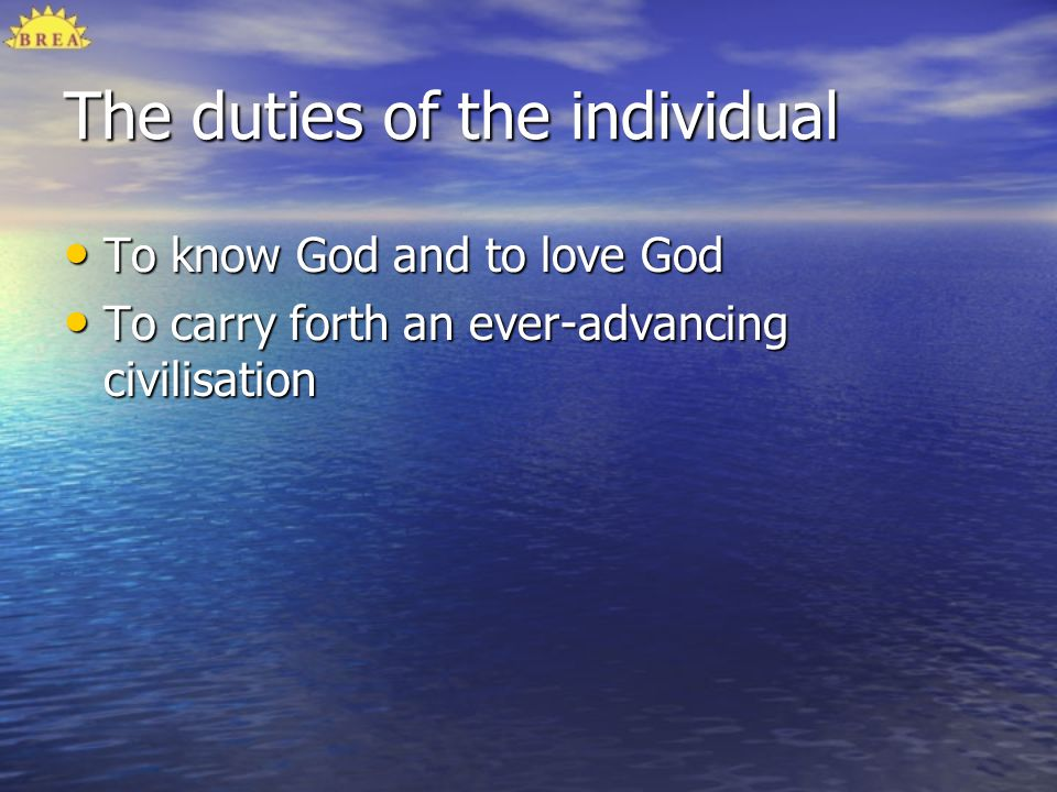 The duties of the individual