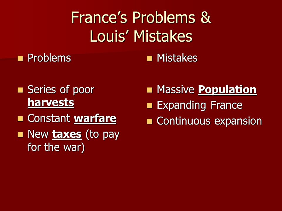 France's Problems & Louis' Mistakes
