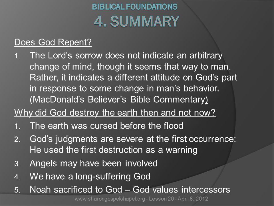 Biblical Foundations 4. Summary