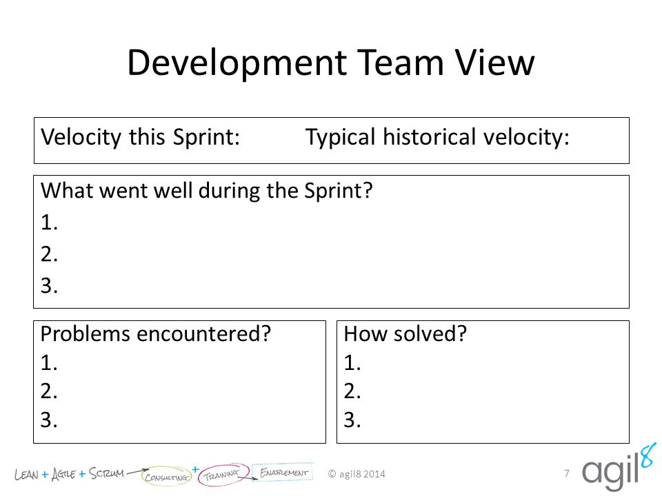 Development Team View Velocity this Sprint: Typical historical velocity: What went well during the Sprint
