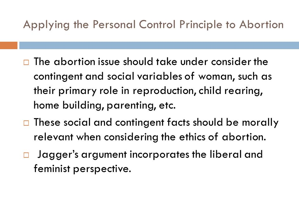 Applying the Personal Control Principle to Abortion